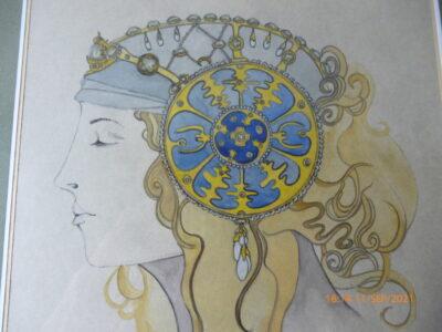 Aquarell gerahmt, verglast, 50,5 x40 cm